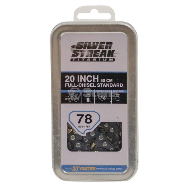 Chainsaw Titanium Chain Pre-Cut Loop 78 DL, .325, .050, Chisel Standard (Stens 099-1787)