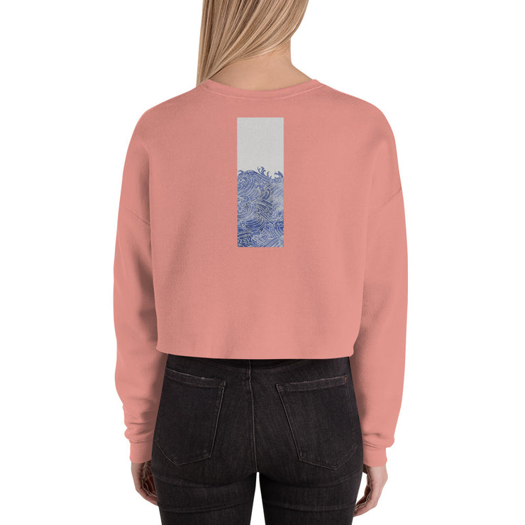 Cute Ocean Waves Umi No Nami Crop Sweatshirt