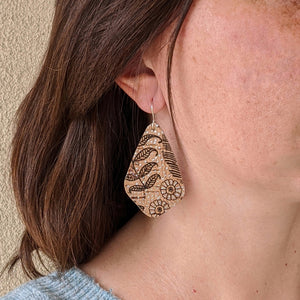 Wings cork earrings, black floral
