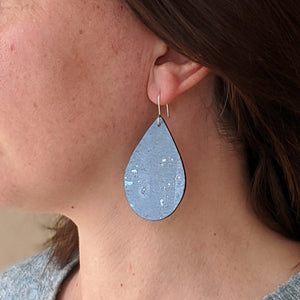 Teardrop cork earrings, blue ice