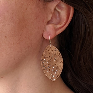 Petal cork earrings, ice blue