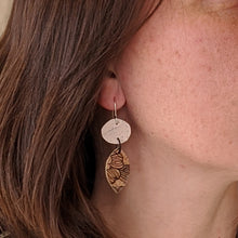 Load image into Gallery viewer, Duo free-form cork earrings, white and floral pattern