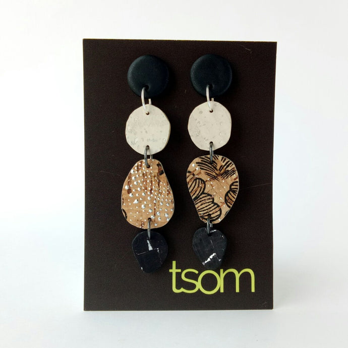 Trio free-form cork earrings, black, white and pattern