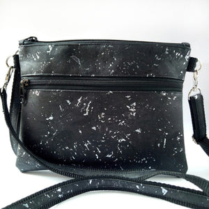 Medium pouch bag, black with silver flecks
