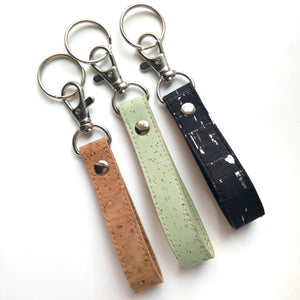 Loop cork key ring natural