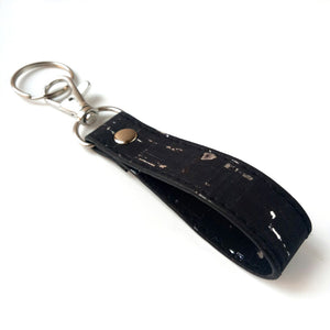 Loop cork key ring black