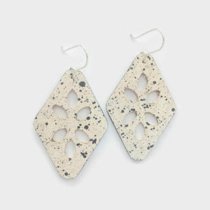 Cut Out cork earrings, black spots