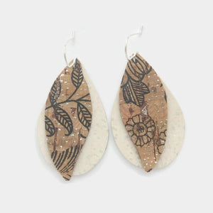 Gum leaves cork earrings, off white and floral pattern