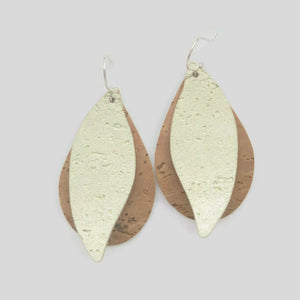 Gum leaf cork earrings on sterling silver hooks
