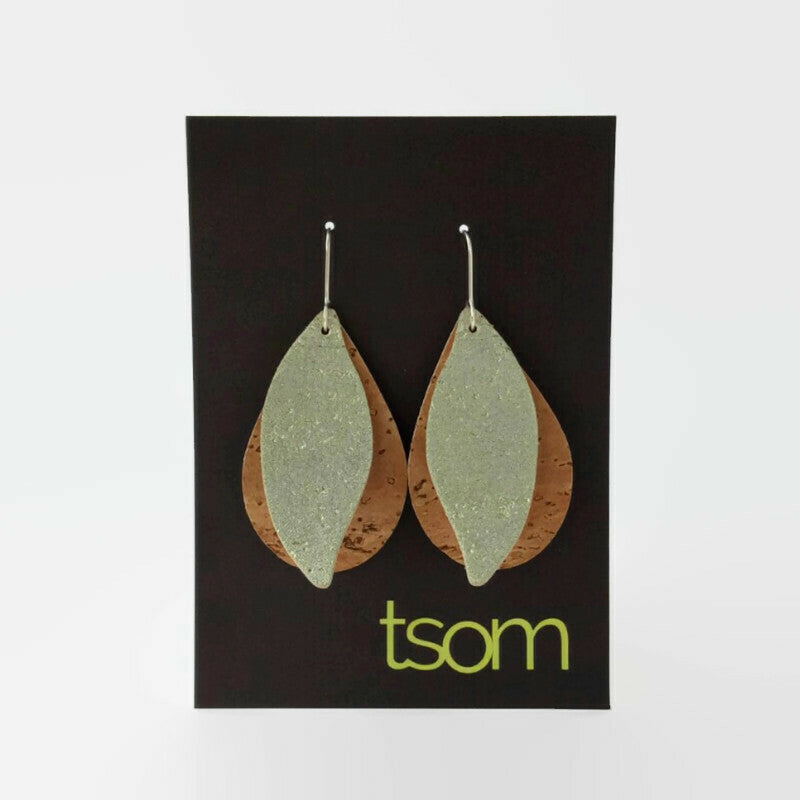 Gum leaves cork earrings