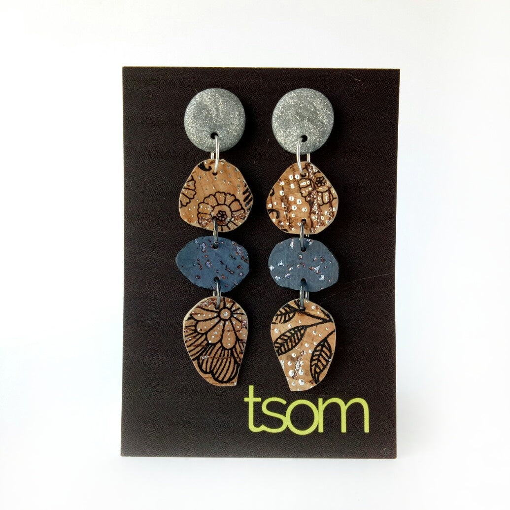 Trio free-form cork earrings, silver blue and pattern