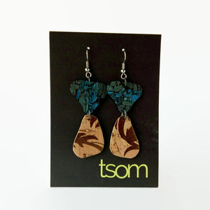 Duo cork earrings