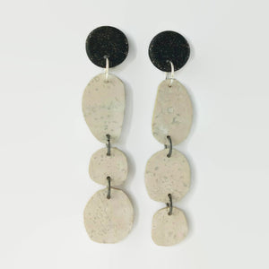 Trio free-form cork earrings, white