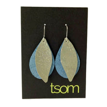 Load image into Gallery viewer, Gum leaves cork earrings, ice blue and pale gold