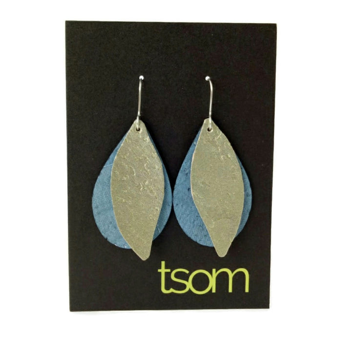 Gum leaves cork earrings, ice blue and pale gold