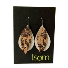 Load image into Gallery viewer, Gum leaves cork earrings, off white and floral pattern
