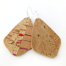 Load image into Gallery viewer, Wings cork earrings, natural with rainbow flecks