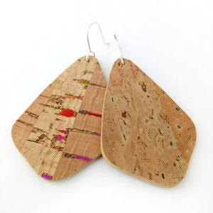 Wings cork earrings, natural with rainbow flecks
