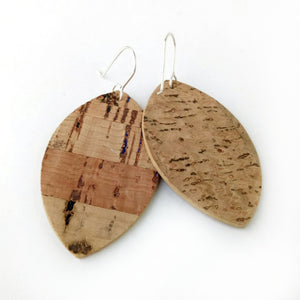 Petal cork earrings, natural with rainbow flecks