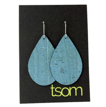 Load image into Gallery viewer, Teardrop cork earrings, blue ice