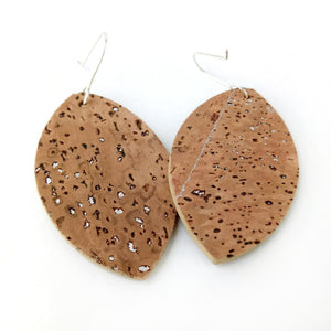 Petal cork earrings, natural silver flecks