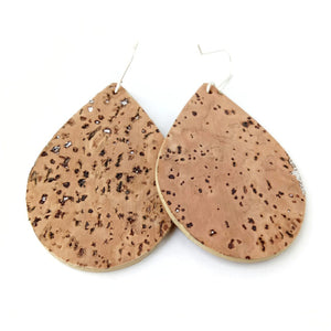 Teardrop cork earrings, natural with silver flecks
