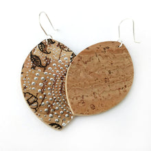 Load image into Gallery viewer, Petal cork earrings, natural wirh floral pattern