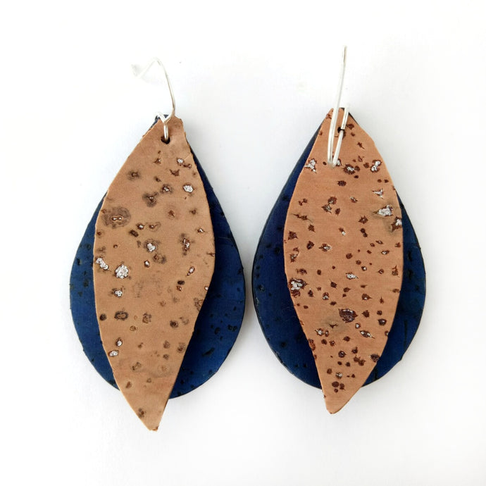 Gum leaves cork earrings, denim blue and  natural with silver flecks