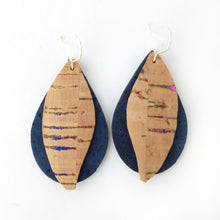 Load image into Gallery viewer, Gum leaves cork earrings, denim blue and natural with rainbow flecks