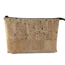 Load image into Gallery viewer, Cork cosmetic bag, natural + rainbow flecks