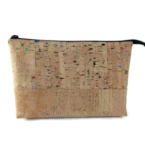 Cork cosmetic bag, natural + rainbow flecks