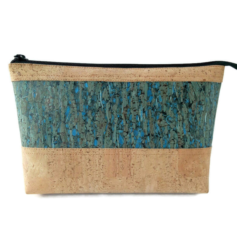 Cork cosmetic bag, natural + blue fennel