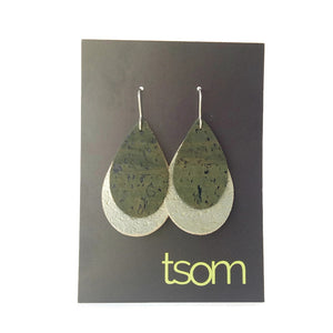 Double Tear Drop cork earrings, green and gold