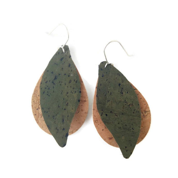 Gum Leaves cork earrings, green and natural