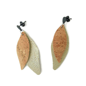 Slim gum leaves cork earrings