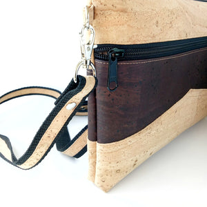 Medium pouch bag, natural  and chocolate brown