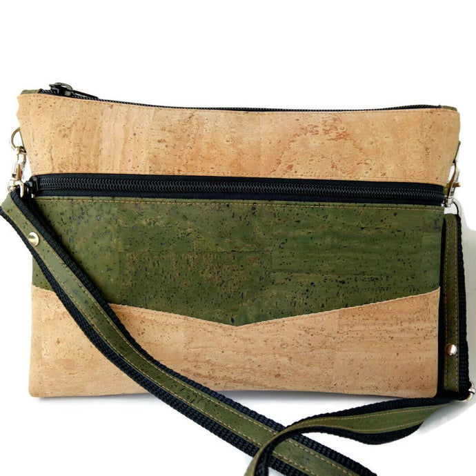 Medium pouch bag, natural and army green