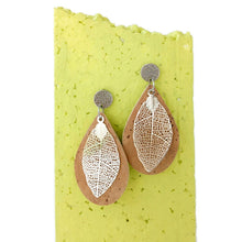 Load image into Gallery viewer, Leaves cork earrings, natural