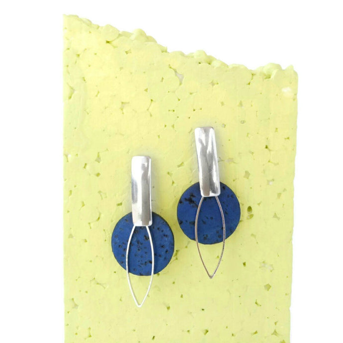 Cork earrings, small circles, navy blue