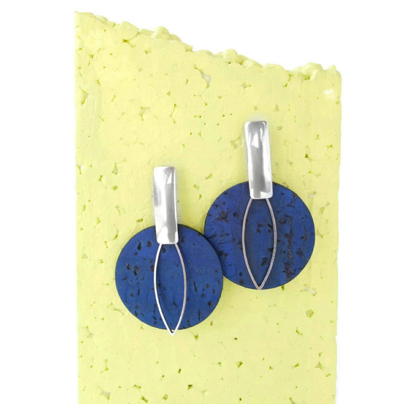 Cork earrings, big circles, navy blue
