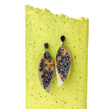 Load image into Gallery viewer, Slim gum leaves cork earrings, blue pattern