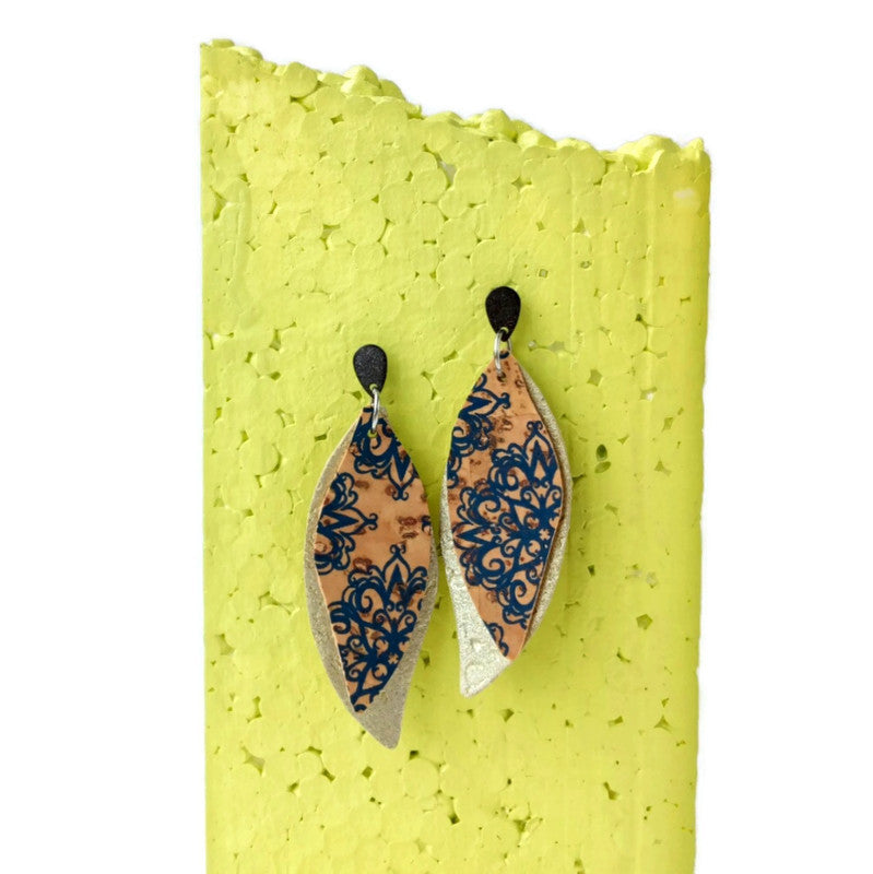 Slim gum leaves cork earrings, blue pattern