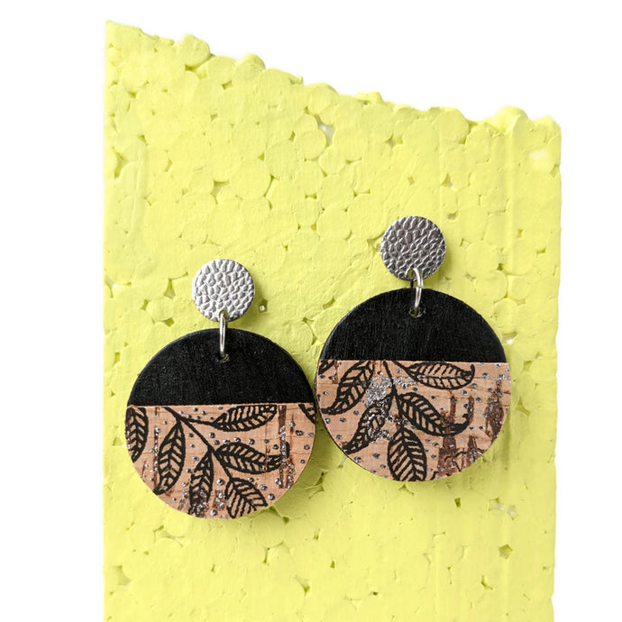 Wood and cork earrings, black floral