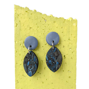 Petal cork earrings, blue fennel