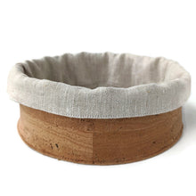 Load image into Gallery viewer, Round soft cork fabric basket with linen insert