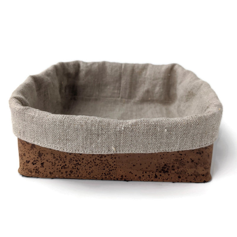 Square soft cork basket with linen insert