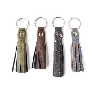 Tassel cork key ring, dark colours