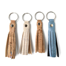 Load image into Gallery viewer, Tassel cork key ring, light colours