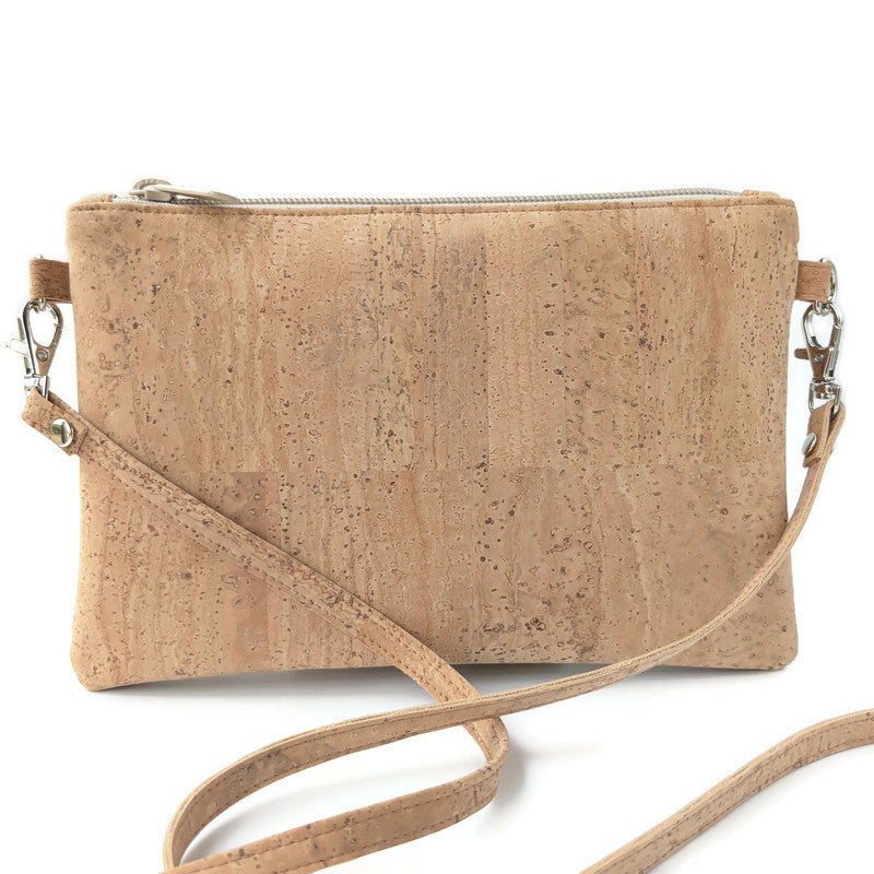 Small cork cross body bag, natural