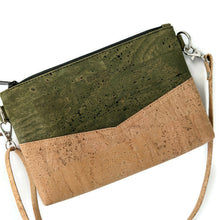Load image into Gallery viewer, Small cork cross body bag, natural and army green